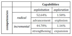 Capabilities-competencies matrix for patents applied in 2012