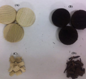 Photographs of biomass for gasifying (A) raw biomass (B) torrefied biomass at 250oC (C) raw biomass grinded for gasification (D) torrefied biomass grounded for gasification