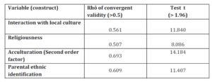 Convergent validity of the measurement scales