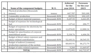 General budget of the production costs of the Mine of Lupeni