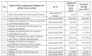 Budget of the Power Complex of Hunedoara — Mining Division Branch - E.M.Lupeni